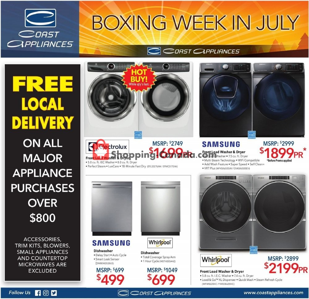 Flyer Coast Appliances Canada - from Thursday June 27, 2019 to Wednesday July 17, 2019