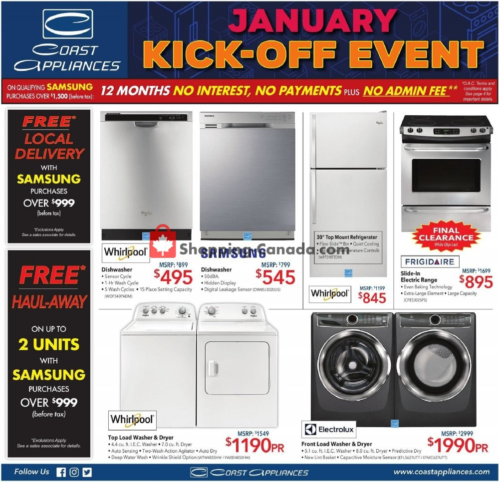 Flyer Coast Appliances Canada - from Thursday January 9, 2020 to Wednesday January 15, 2020