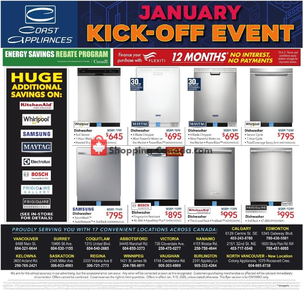 Flyer Coast Appliances Canada - from Thursday January 9, 2020 to Wednesday January 15, 2020