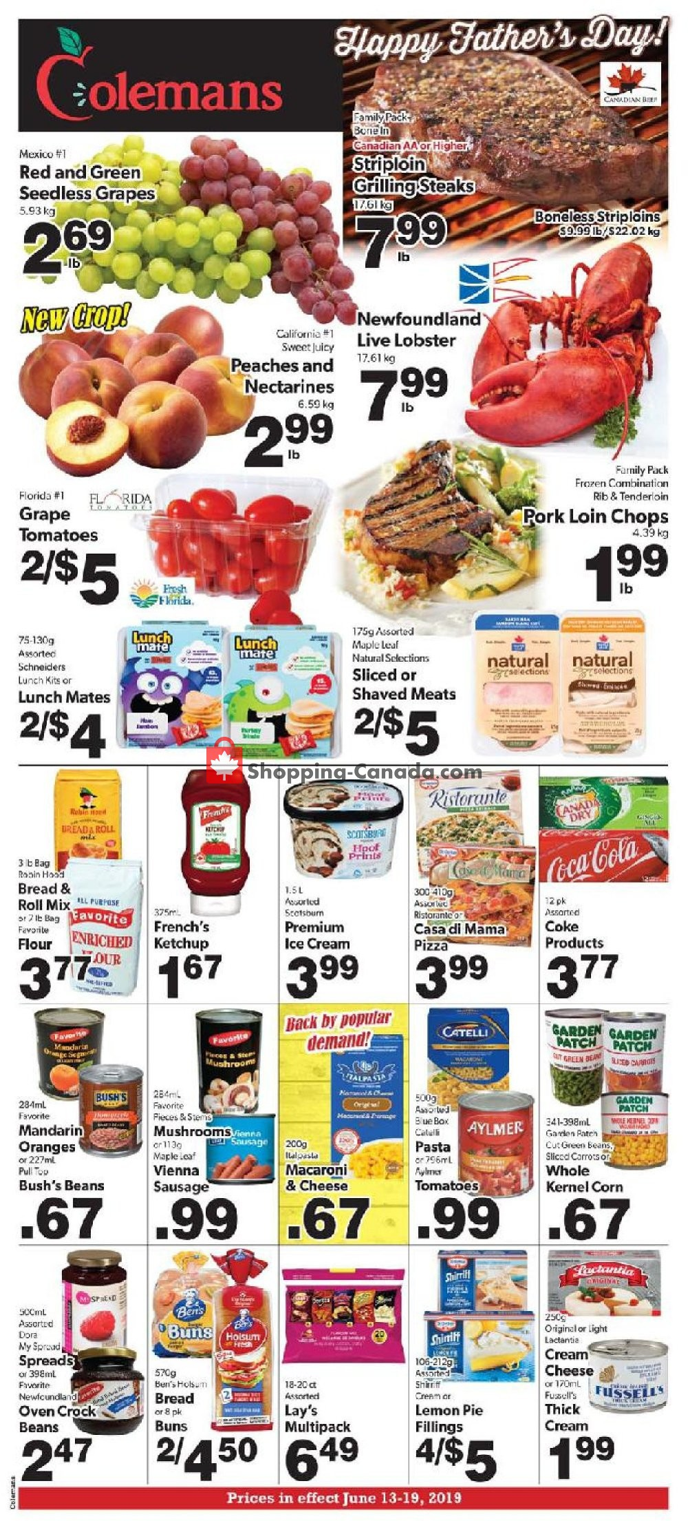 Flyer Coleman's Canada - from Thursday June 13, 2019 to Wednesday June 19, 2019
