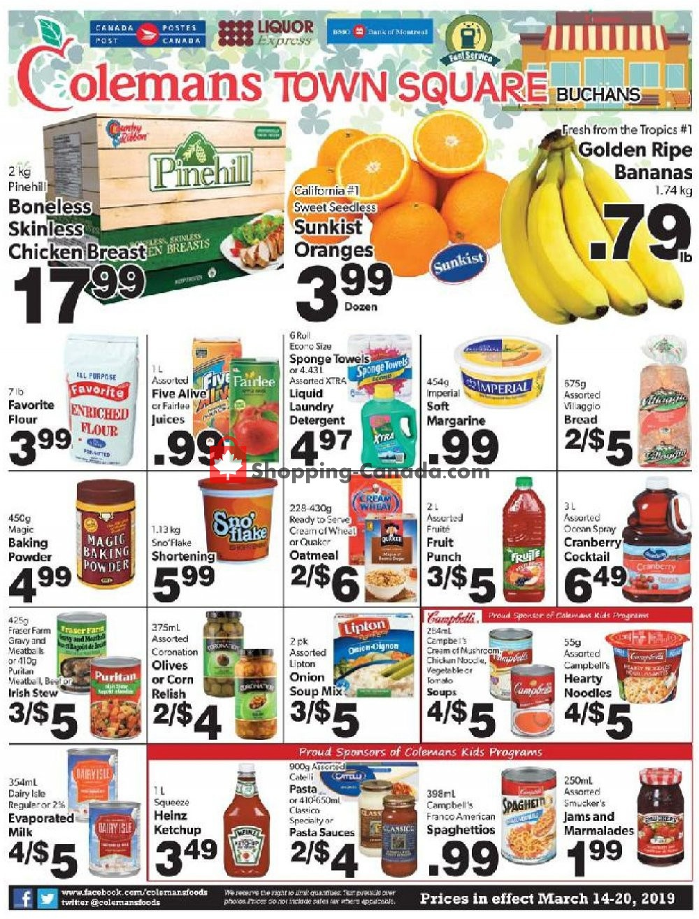 Flyer Coleman's Canada - from Thursday March 14, 2019 to Wednesday March 20, 2019