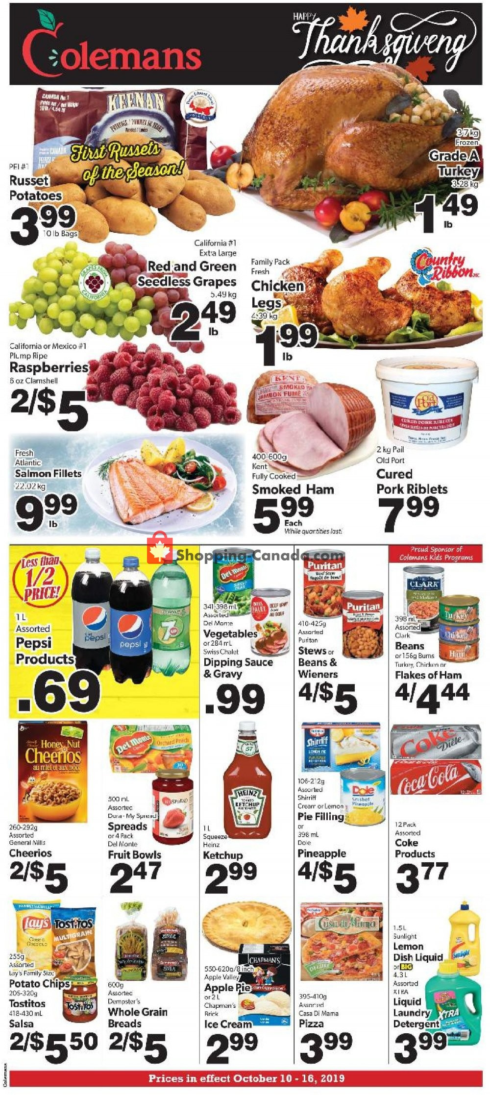 Flyer Coleman's Canada - from Thursday October 10, 2019 to Wednesday October 16, 2019