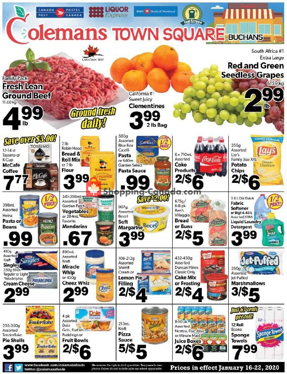 Flyer Coleman's Canada - from Thursday January 16, 2020 to Wednesday January 22, 2020