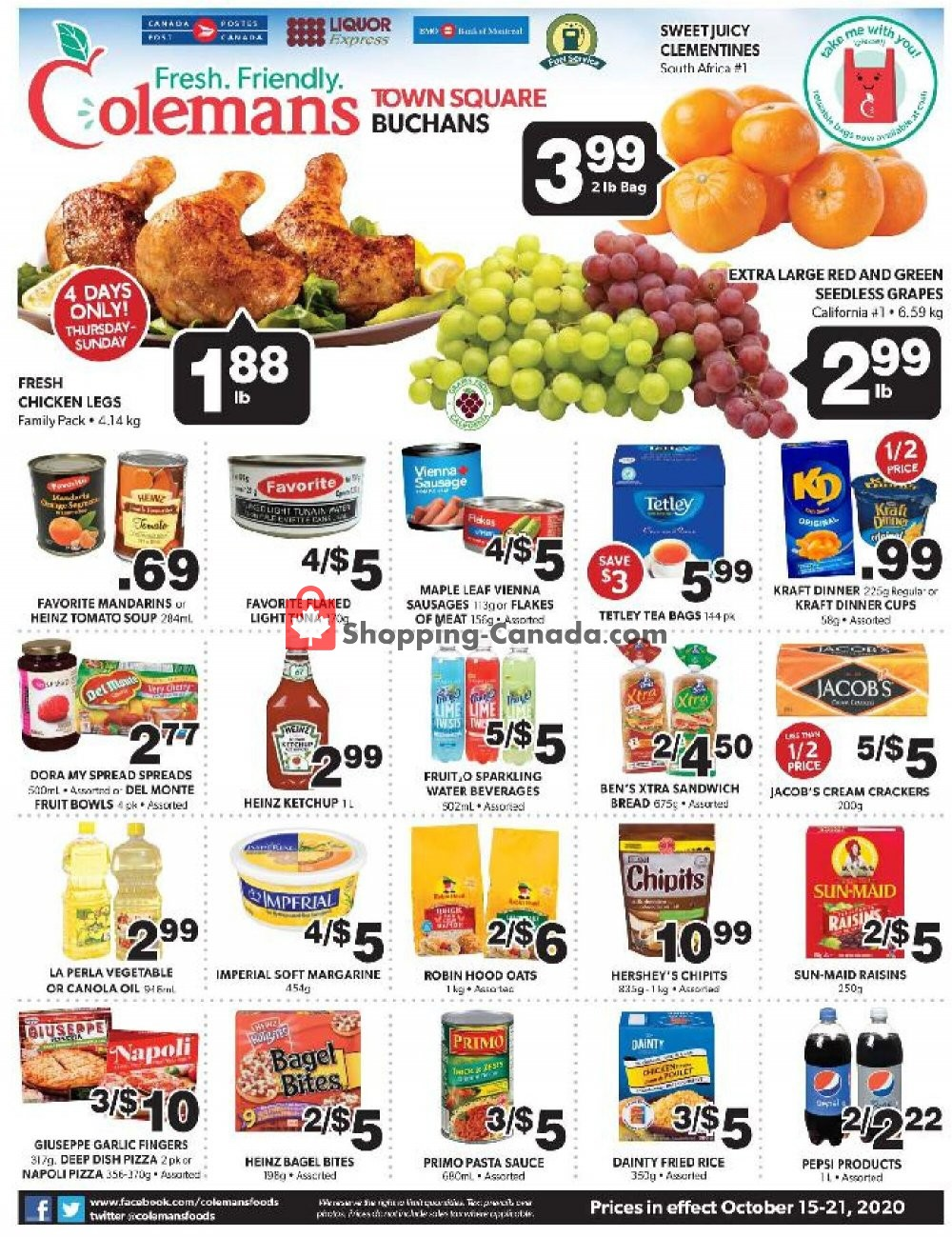 Flyer Coleman's Canada - from Thursday October 15, 2020 to Wednesday October 21, 2020
