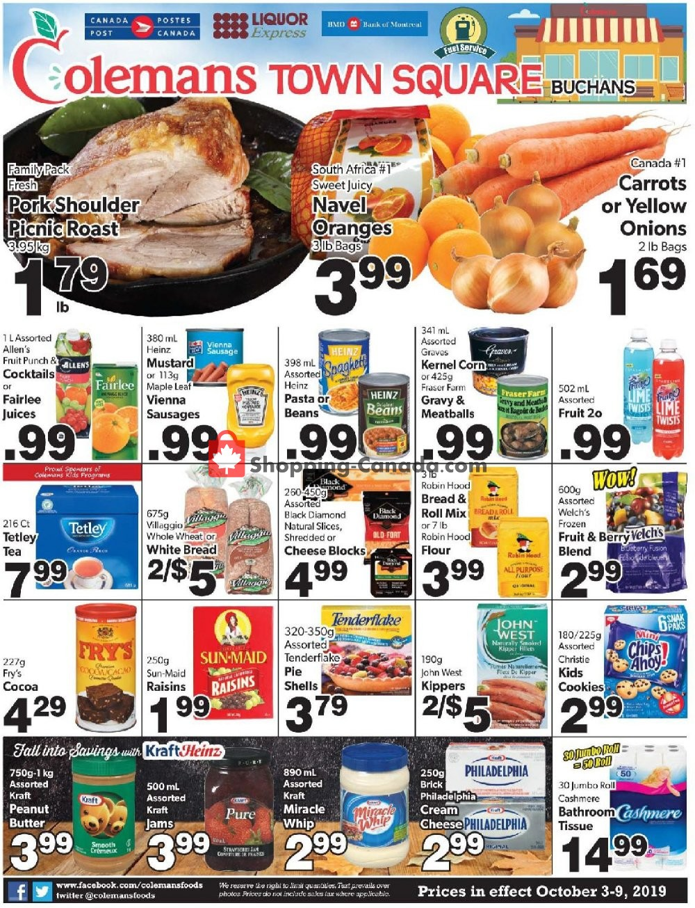 Flyer Coleman's Canada - from Thursday October 3, 2019 to Wednesday October 9, 2019