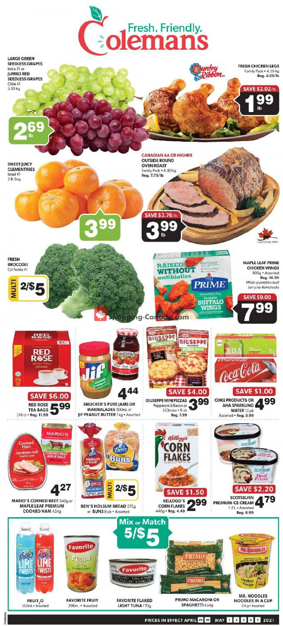 Flyer Coleman's Canada - from Thursday April 29, 2021 to Wednesday May 5, 2021