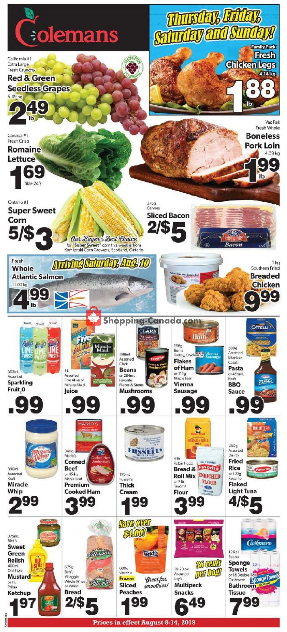 Flyer Coleman's Canada - from Thursday August 8, 2019 to Wednesday August 14, 2019