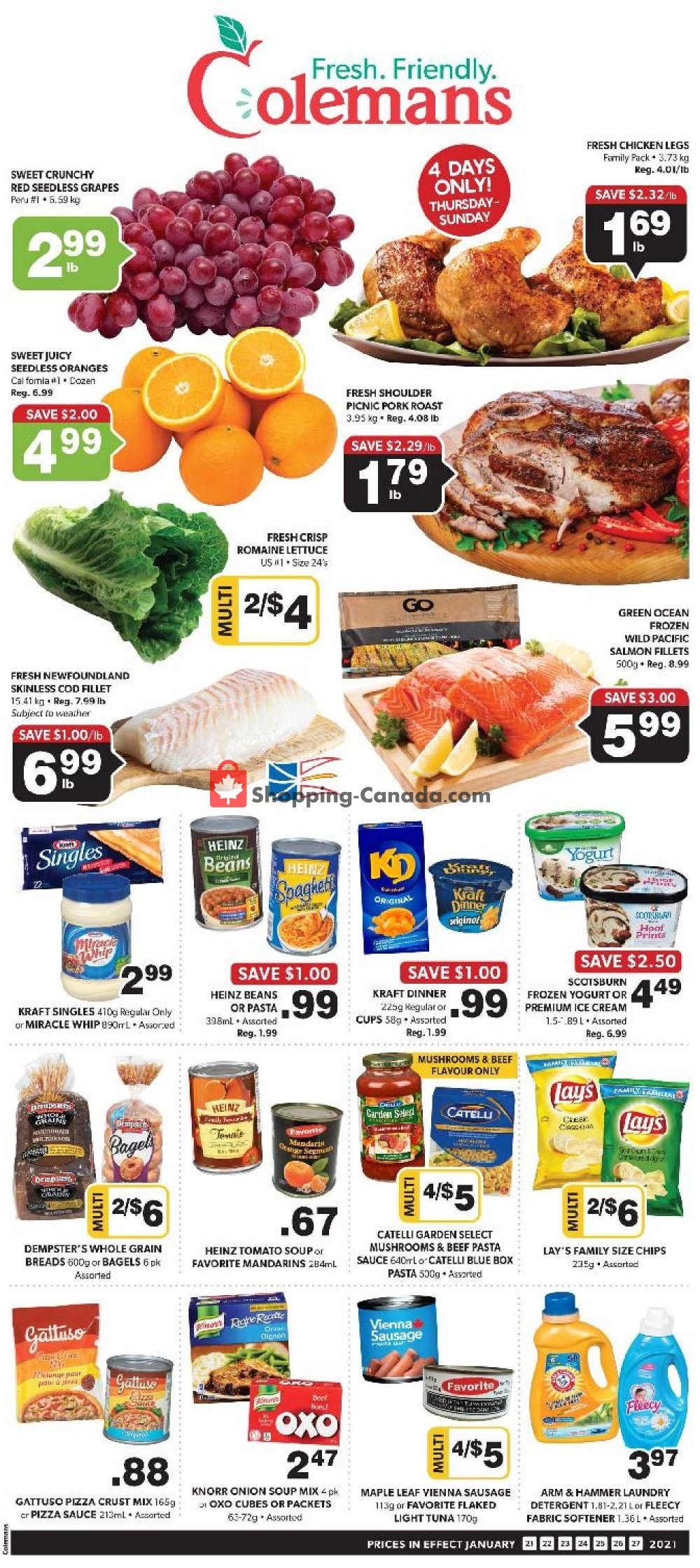 Flyer Coleman's Canada - from Thursday January 21, 2021 to Wednesday January 27, 2021