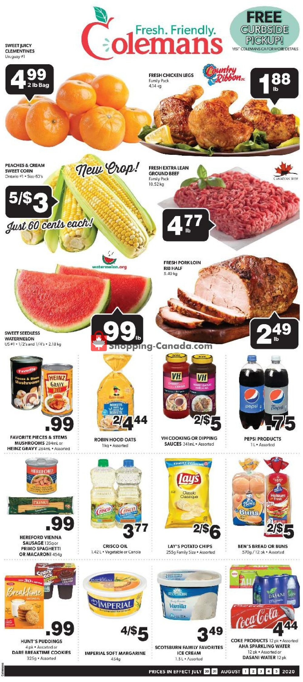 Flyer Coleman's Canada - from Thursday July 30, 2020 to Wednesday August 5, 2020