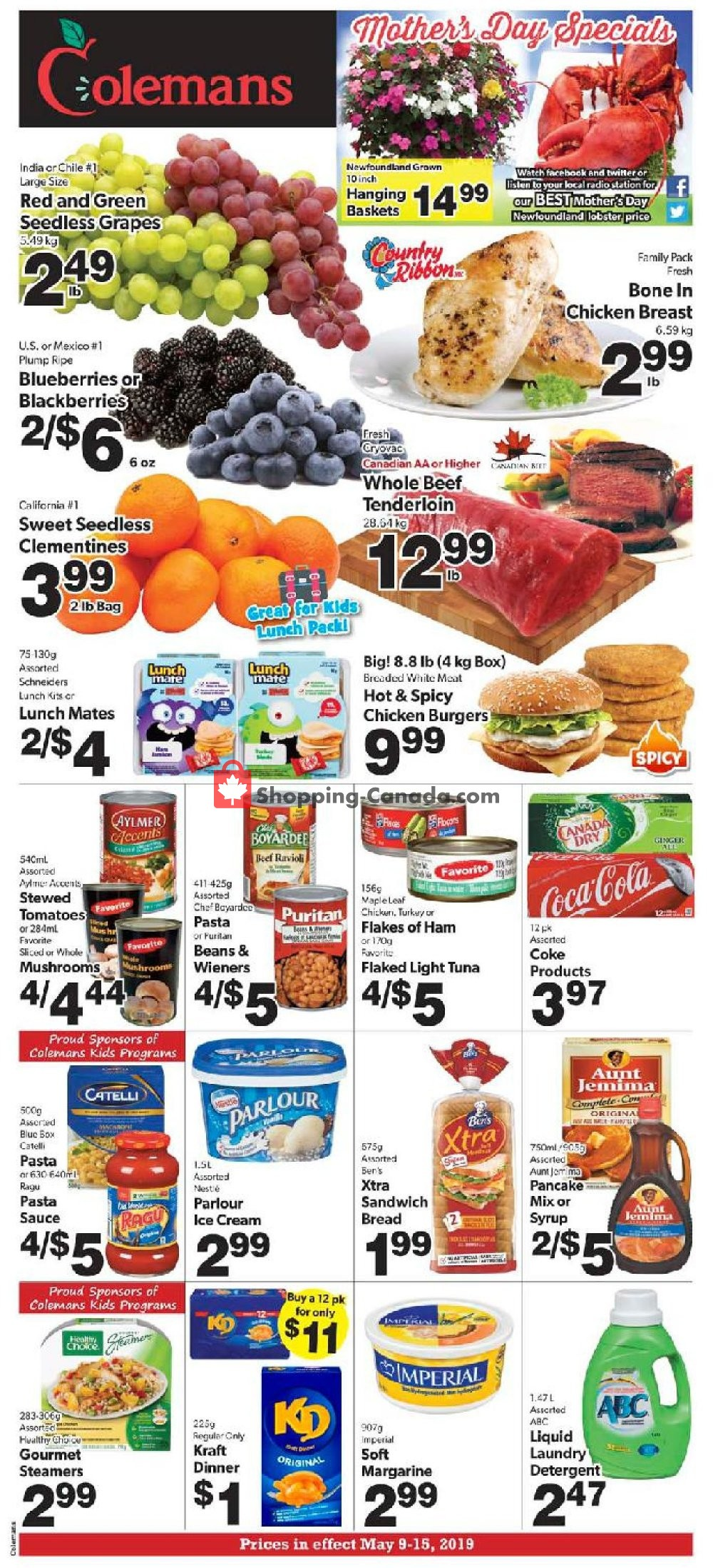 Flyer Coleman's Canada - from Thursday May 9, 2019 to Wednesday May 15, 2019