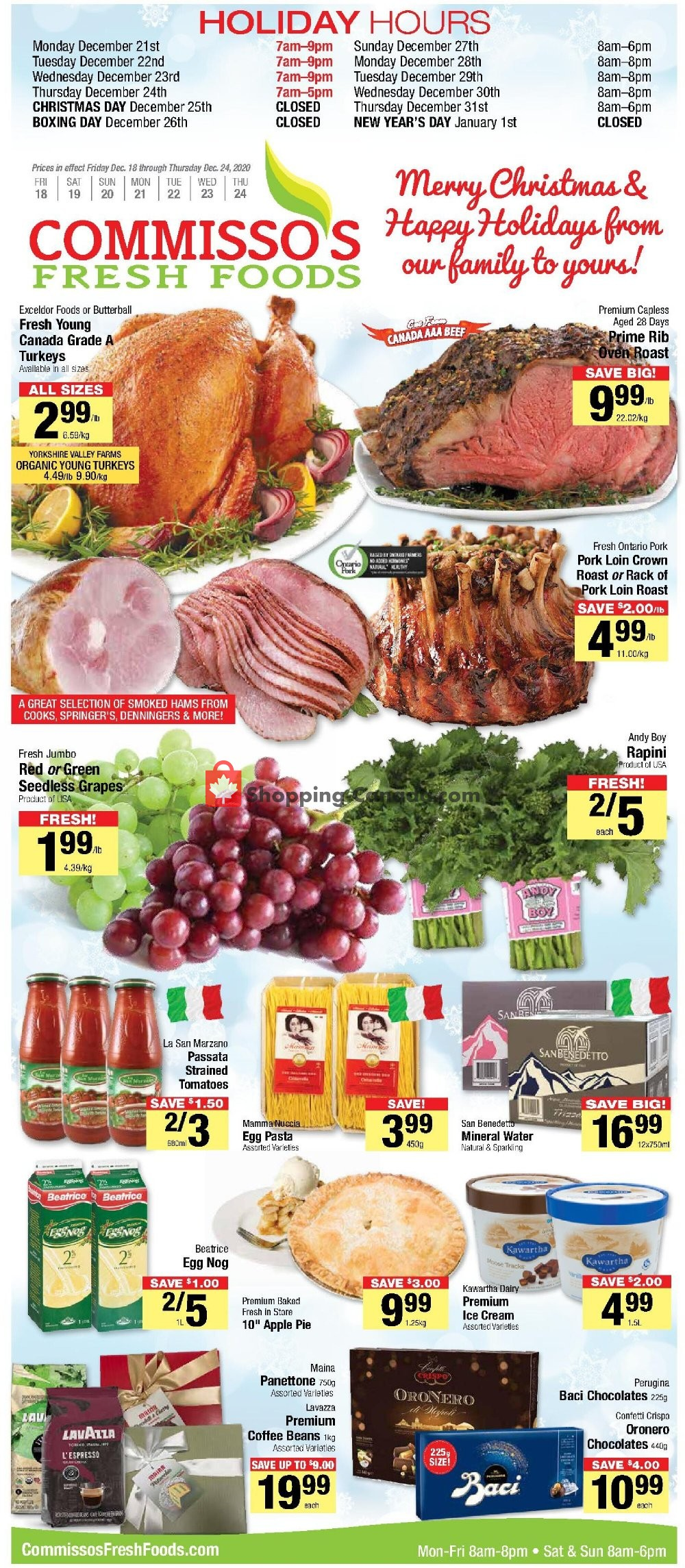 Flyer Commisso's Fresh Foods Canada - from Friday December 18, 2020 to Thursday December 24, 2020
