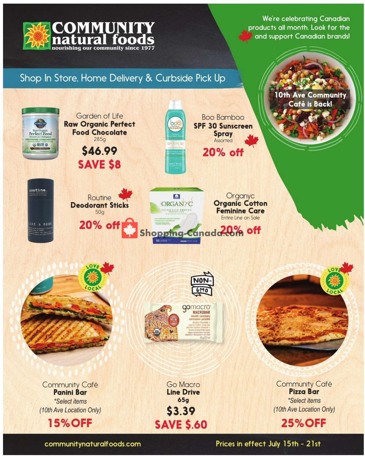 Flyer Community Natural Foods Canada - from Thursday July 15, 2021 to Wednesday July 21, 2021