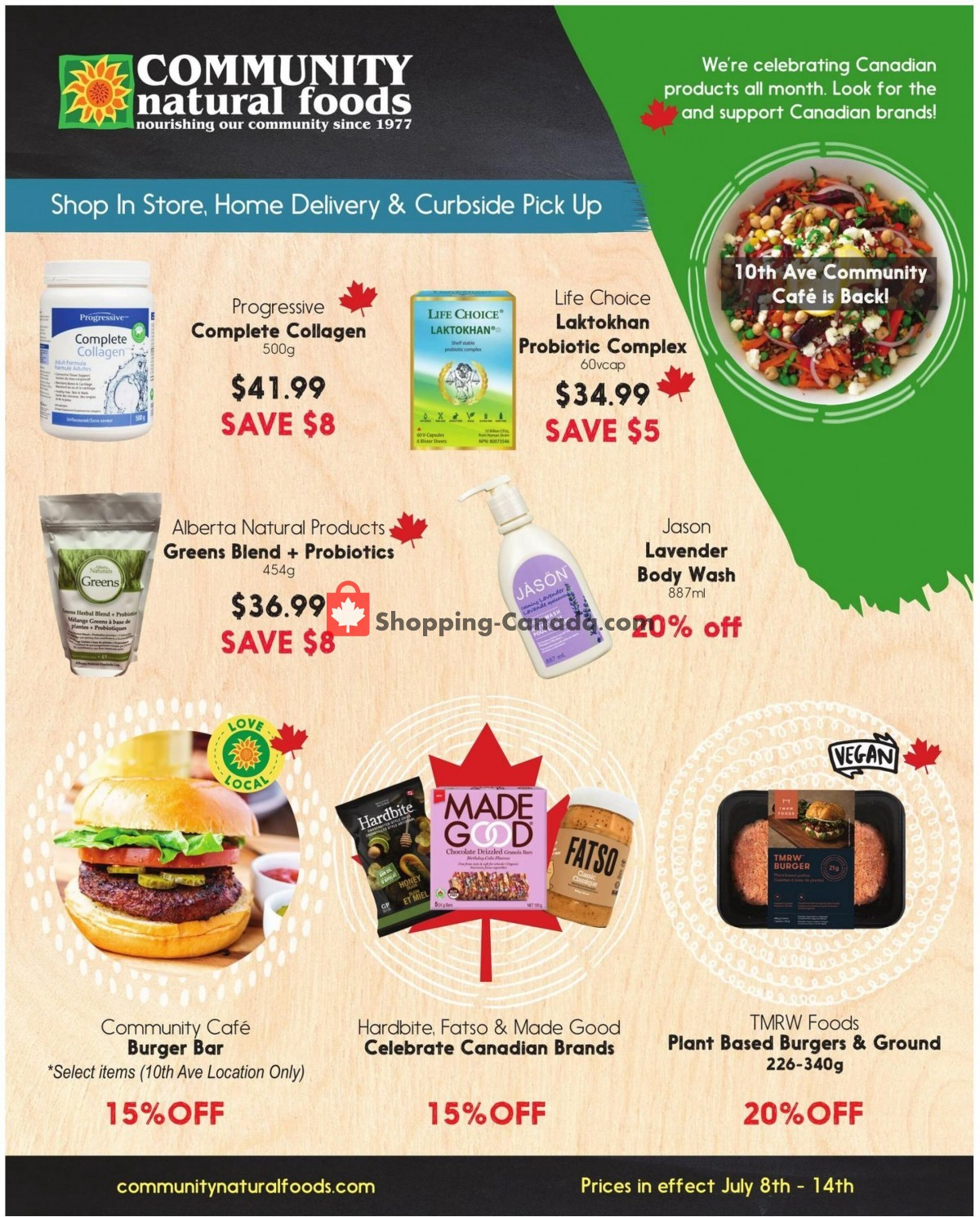 Flyer Community Natural Foods Canada - from Thursday July 8, 2021 to Wednesday July 14, 2021