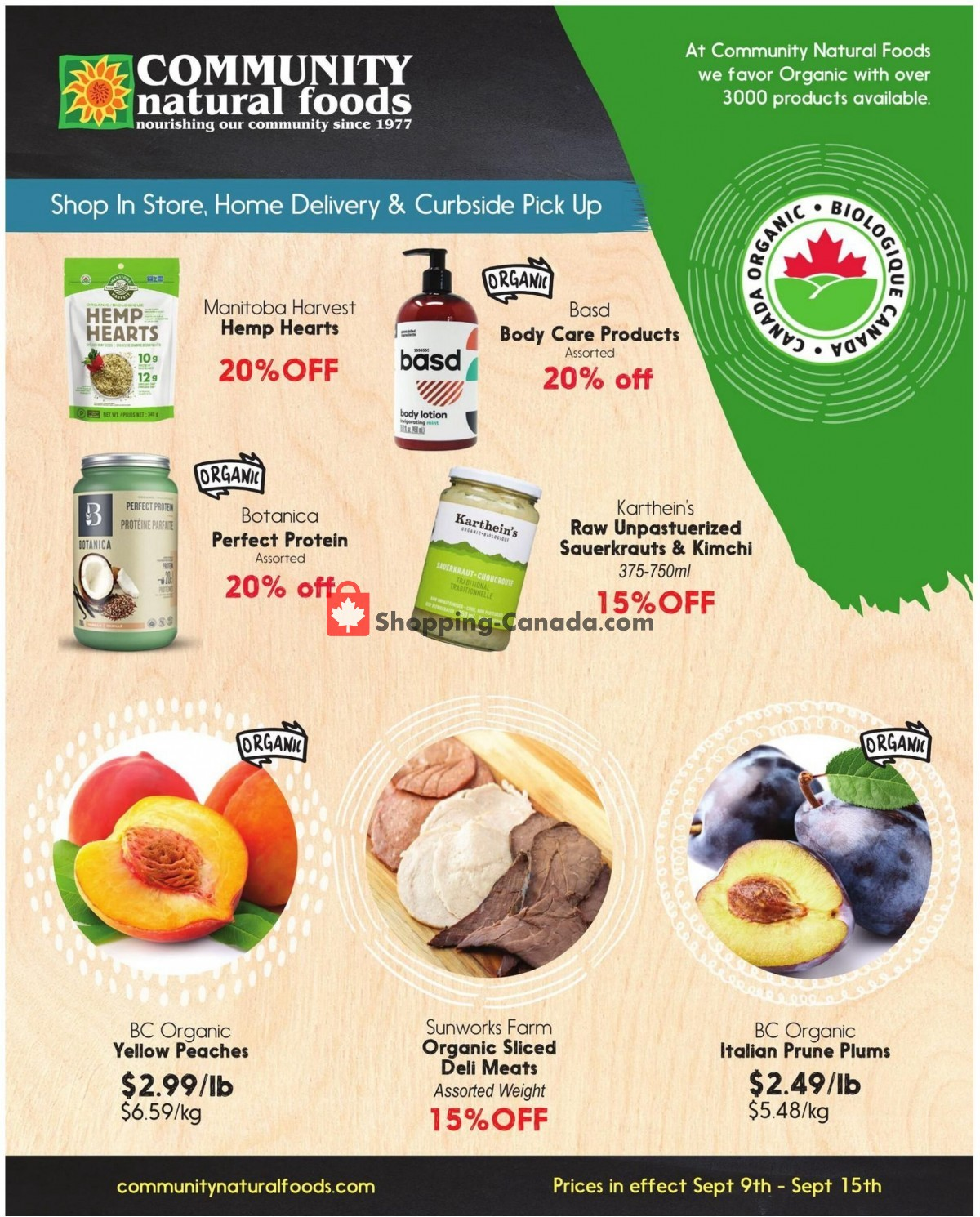 Flyer Community Natural Foods Canada - from Thursday September 9, 2021 to Wednesday September 15, 2021