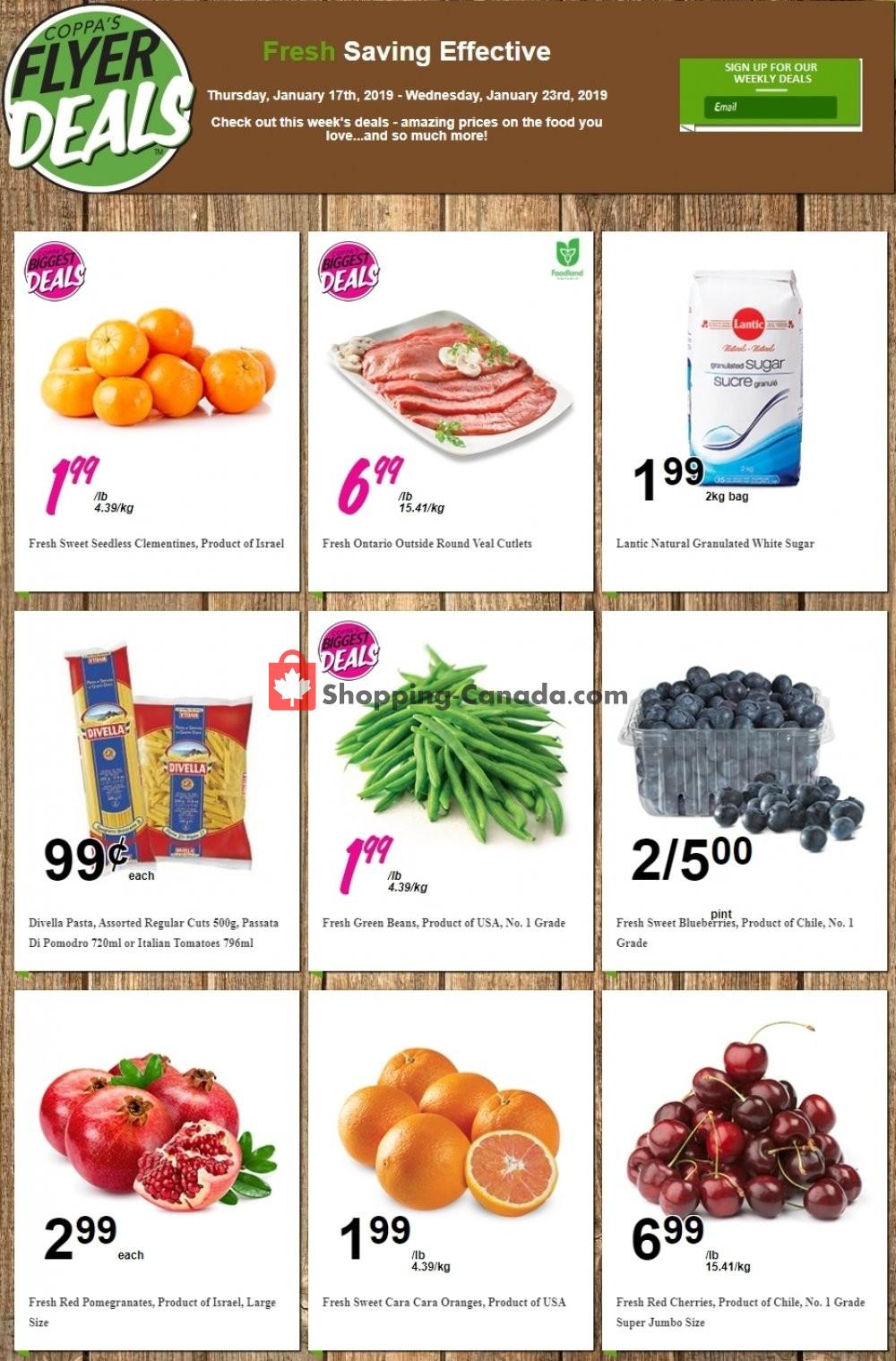 Flyer Coppa's Fresh Market Canada - from Thursday January 17, 2019 to Wednesday January 23, 2019