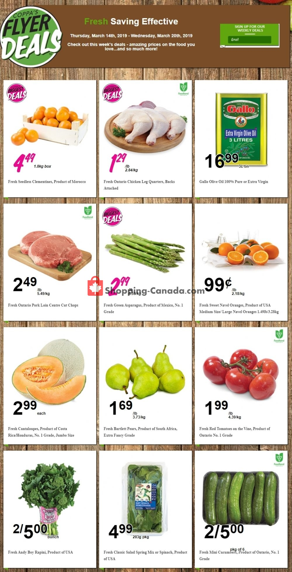 Flyer Coppa's Fresh Market Canada - from Thursday March 14, 2019 to Wednesday March 20, 2019
