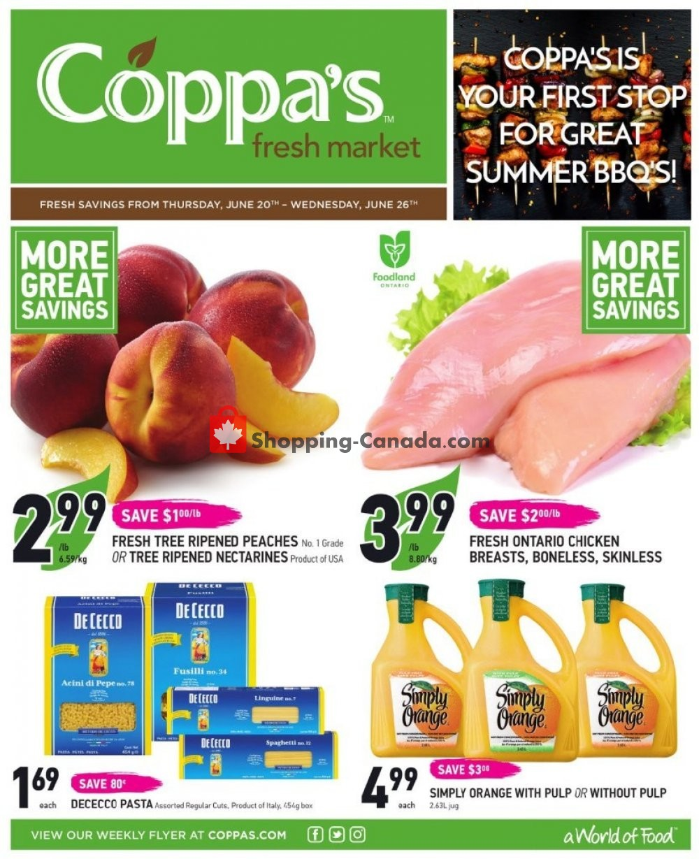 Flyer Coppa's Fresh Market Canada - from Thursday June 20, 2019 to Wednesday June 26, 2019