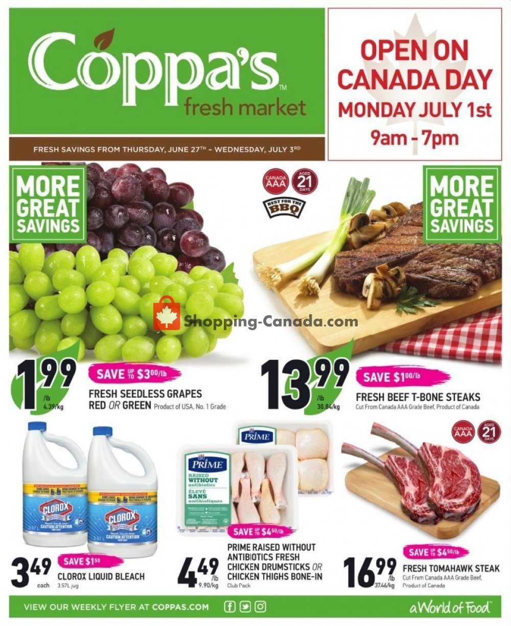 Flyer Coppa's Fresh Market Canada - from Thursday June 27, 2019 to Wednesday July 3, 2019