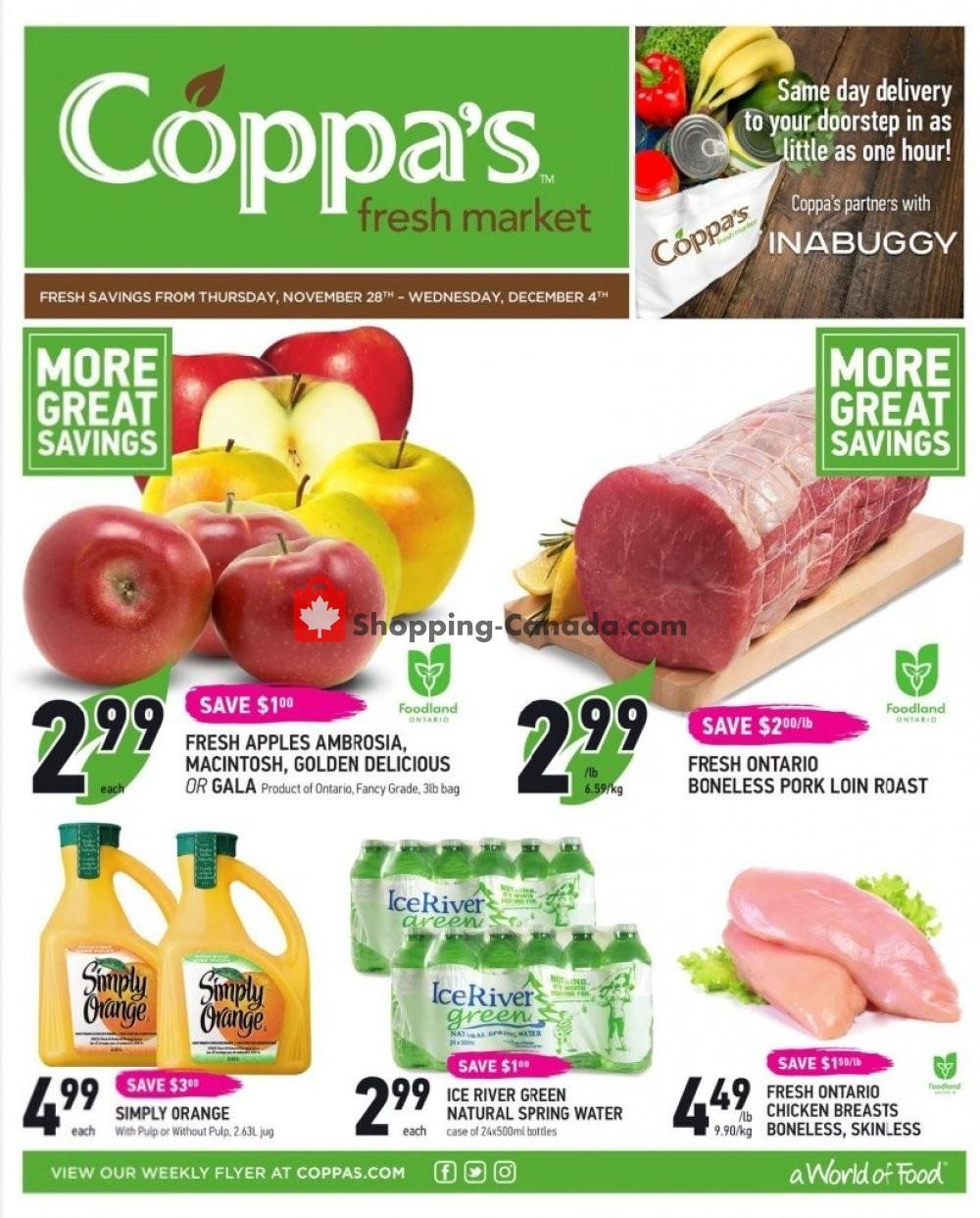 Flyer Coppa's Fresh Market Canada - from Thursday November 28, 2019 to Wednesday December 4, 2019