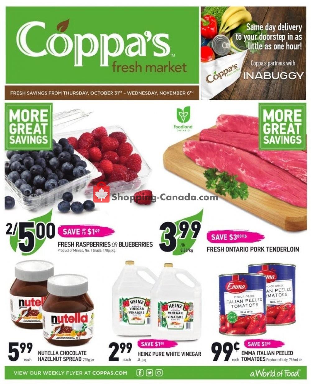Flyer Coppa's Fresh Market Canada - from Thursday October 31, 2019 to Wednesday November 6, 2019