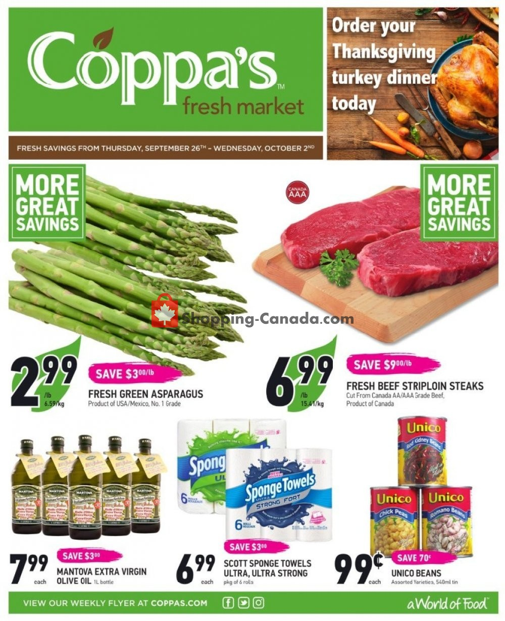 Flyer Coppa's Fresh Market Canada - from Thursday September 26, 2019 to Wednesday October 2, 2019