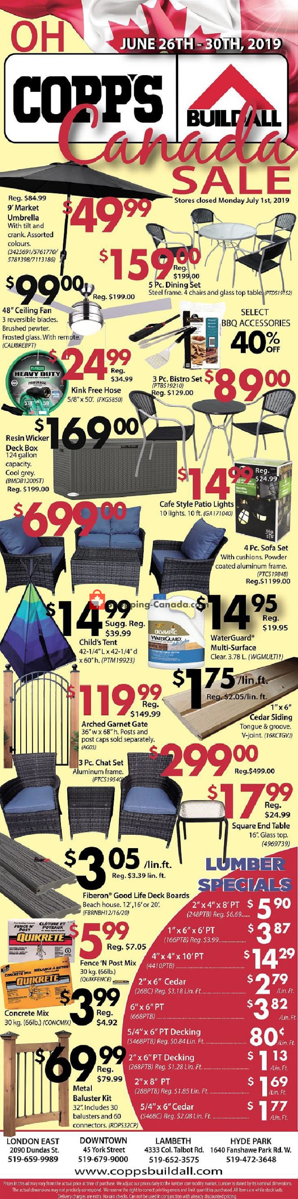 Flyer COPP's Buildall Canada - from Wednesday June 26, 2019 to Sunday June 30, 2019