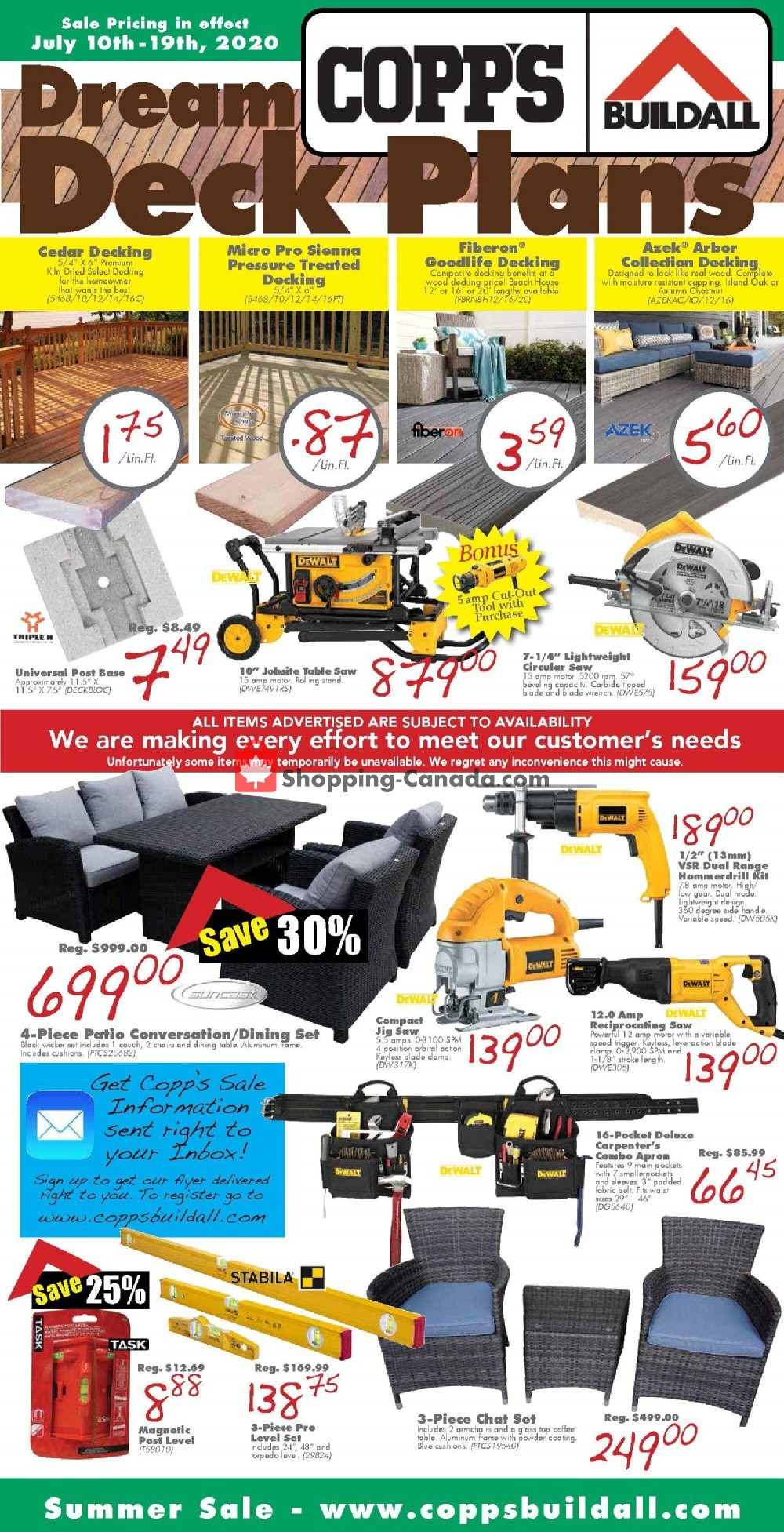 Flyer COPP's Buildall Canada - from Friday July 10, 2020 to Sunday July 19, 2020