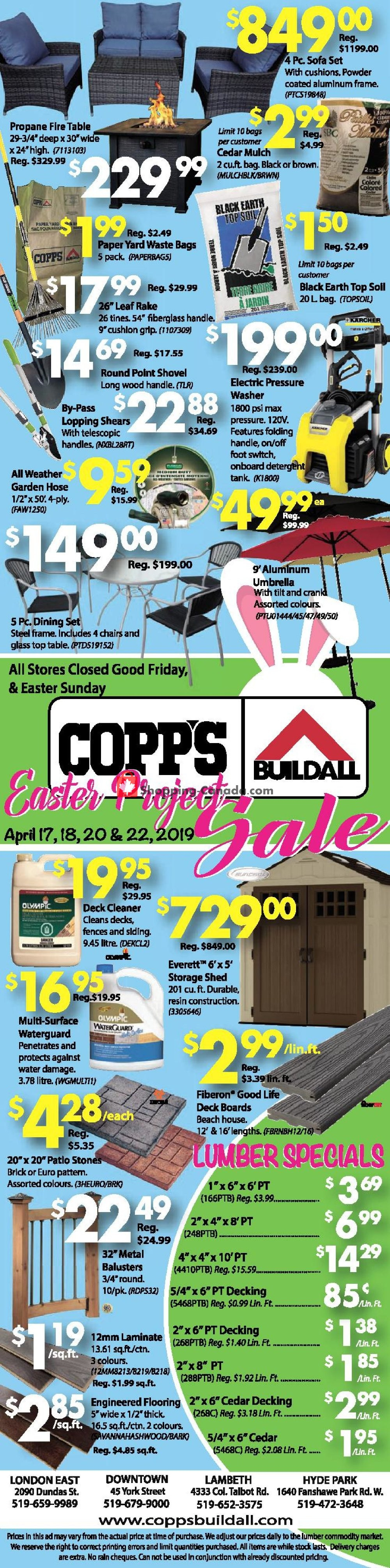 Flyer COPP's Buildall Canada - from Wednesday April 17, 2019 to Monday April 22, 2019