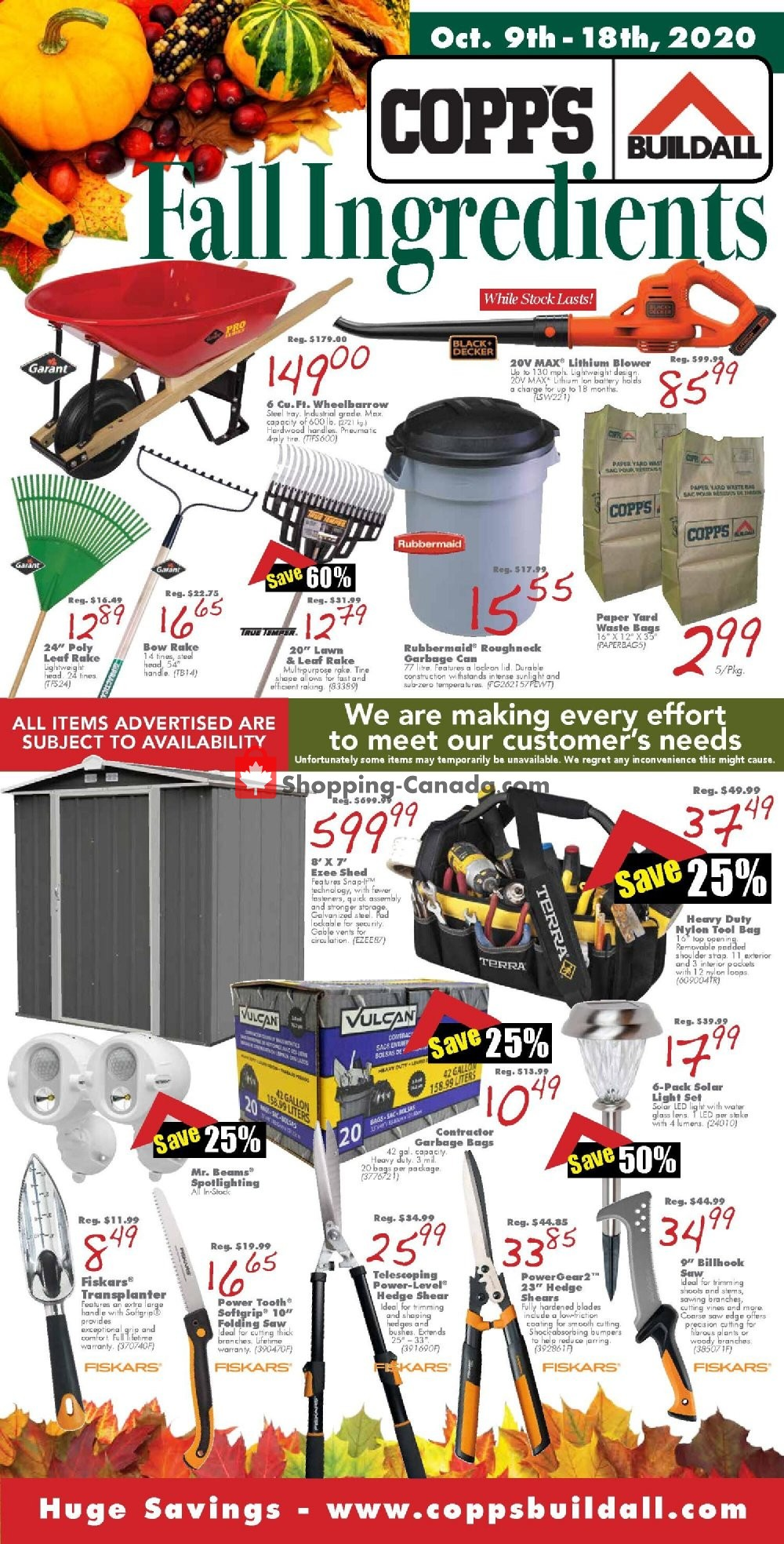 Flyer COPP's Buildall Canada - from Friday October 9, 2020 to Sunday October 18, 2020