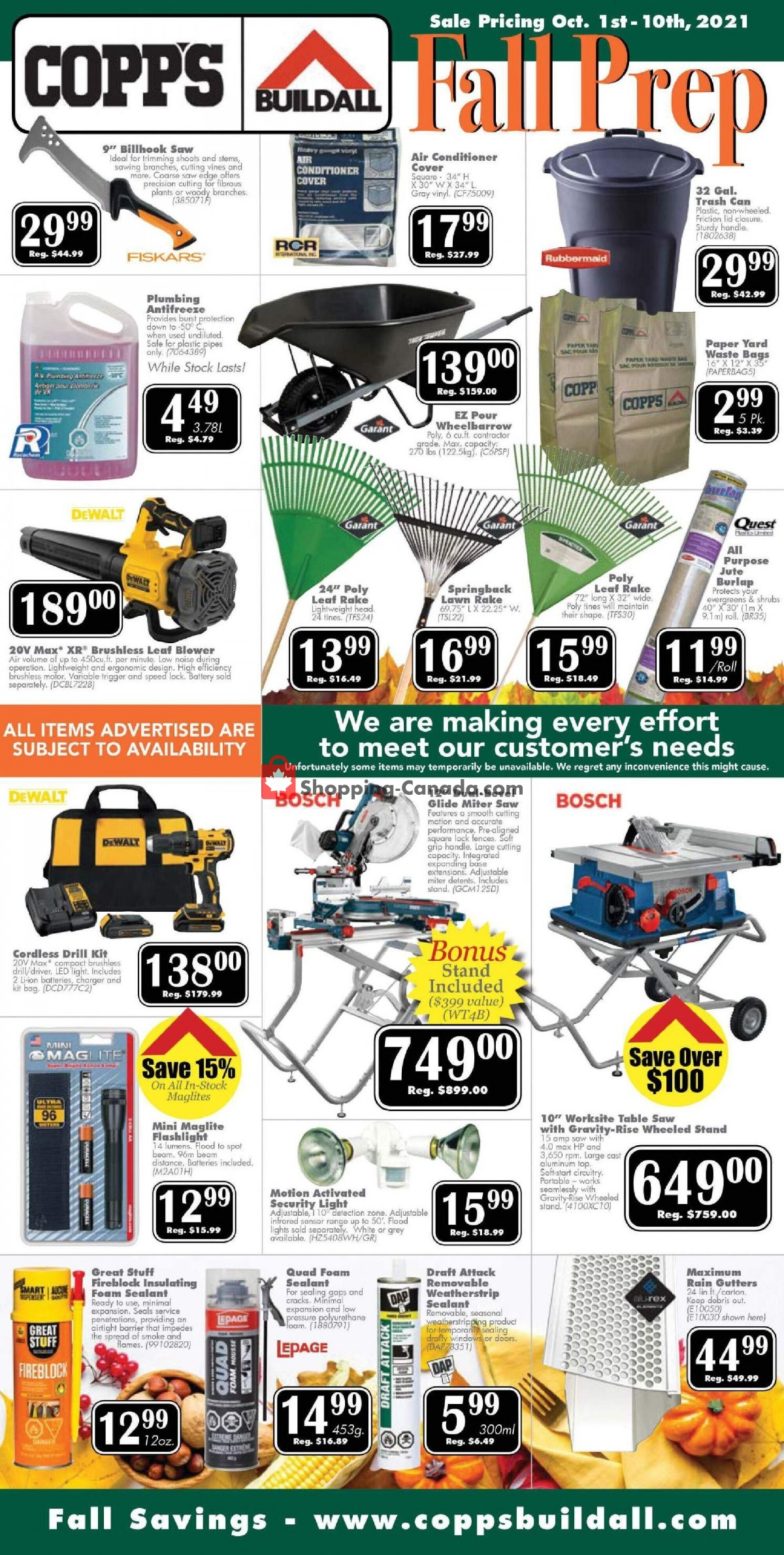 Flyer COPP's Buildall Canada - from Friday October 1, 2021 to Sunday October 10, 2021
