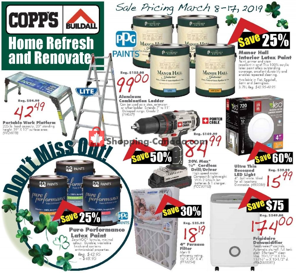 Flyer COPP's Buildall Canada - from Friday March 8, 2019 to Sunday March 17, 2019