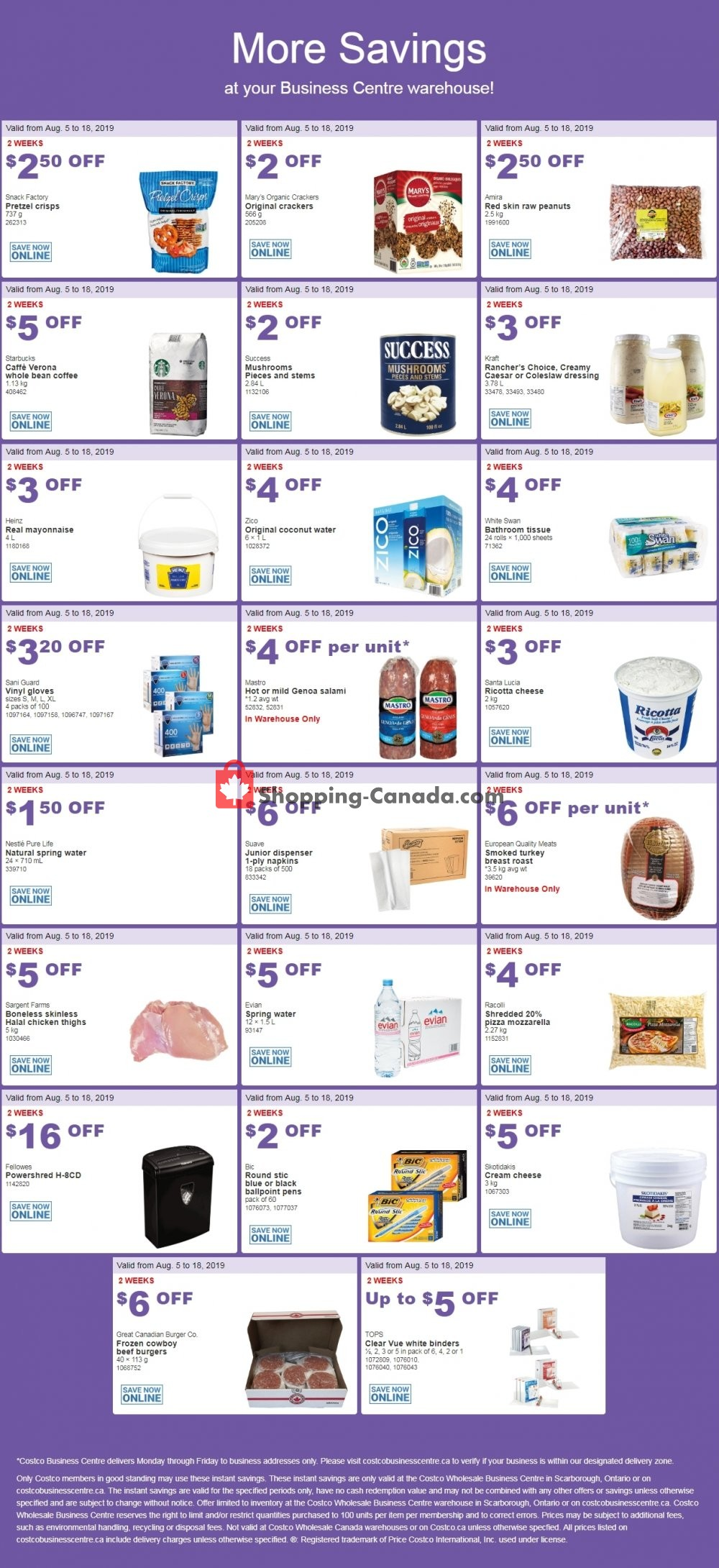 Flyer Costco Canada - from Monday August 5, 2019 to Sunday August 18, 2019