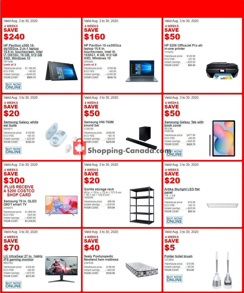 Flyer Costco Canada - from Monday August 3, 2020 to Sunday August 30, 2020