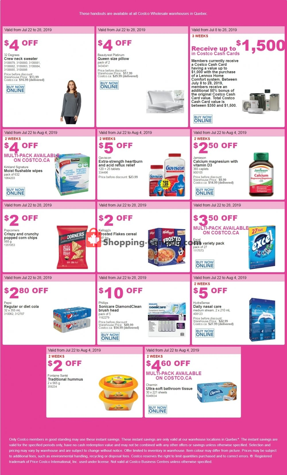 Flyer Costco Canada - from Monday July 22, 2019 to Sunday July 28, 2019