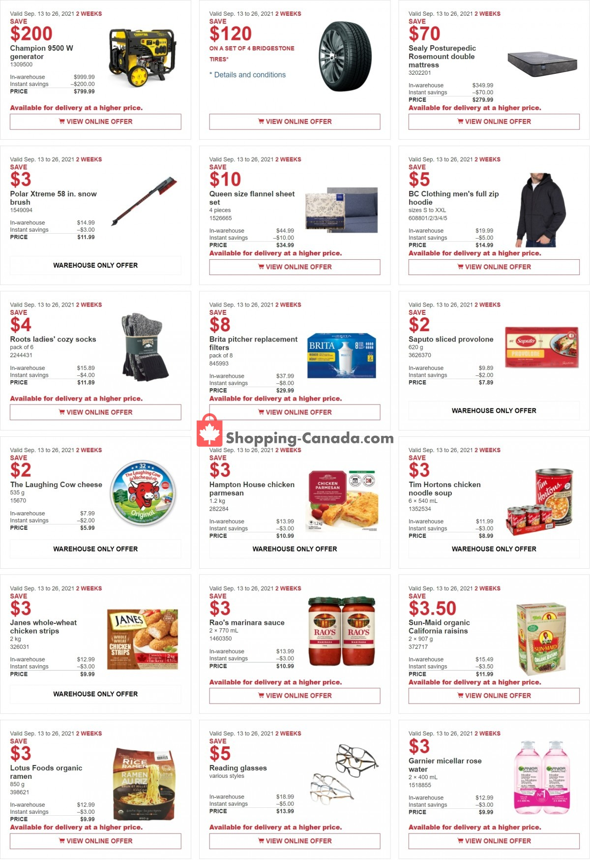 Flyer Costco Canada - from Monday September 13, 2021 to Sunday September 26, 2021