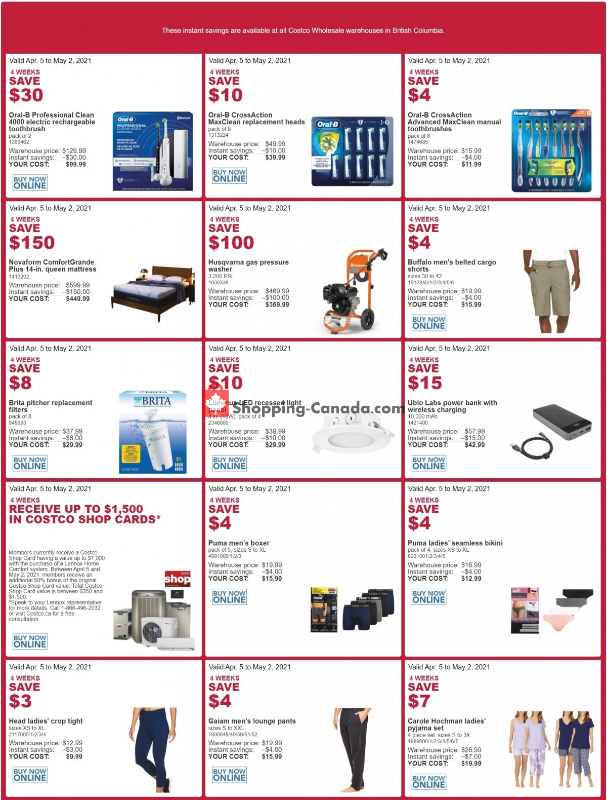 Flyer Costco Canada - from Monday April 5, 2021 to Sunday May 2, 2021