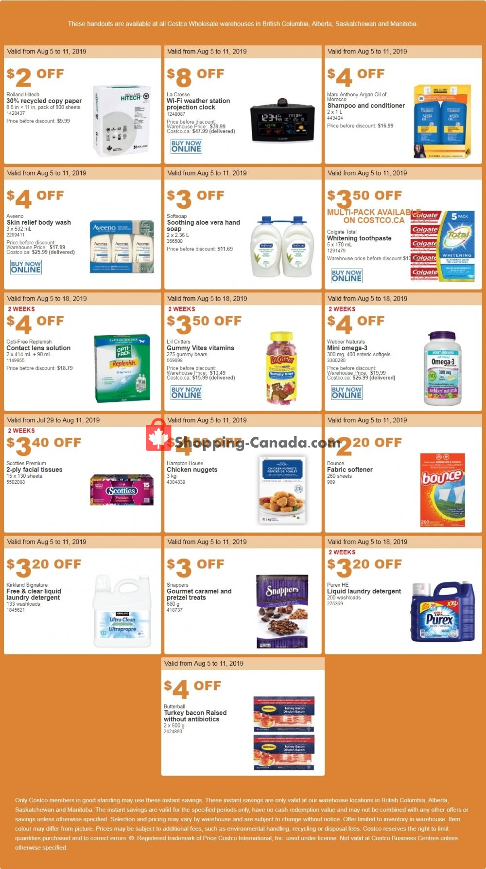 Flyer Costco Canada - from Monday August 5, 2019 to Sunday August 11, 2019