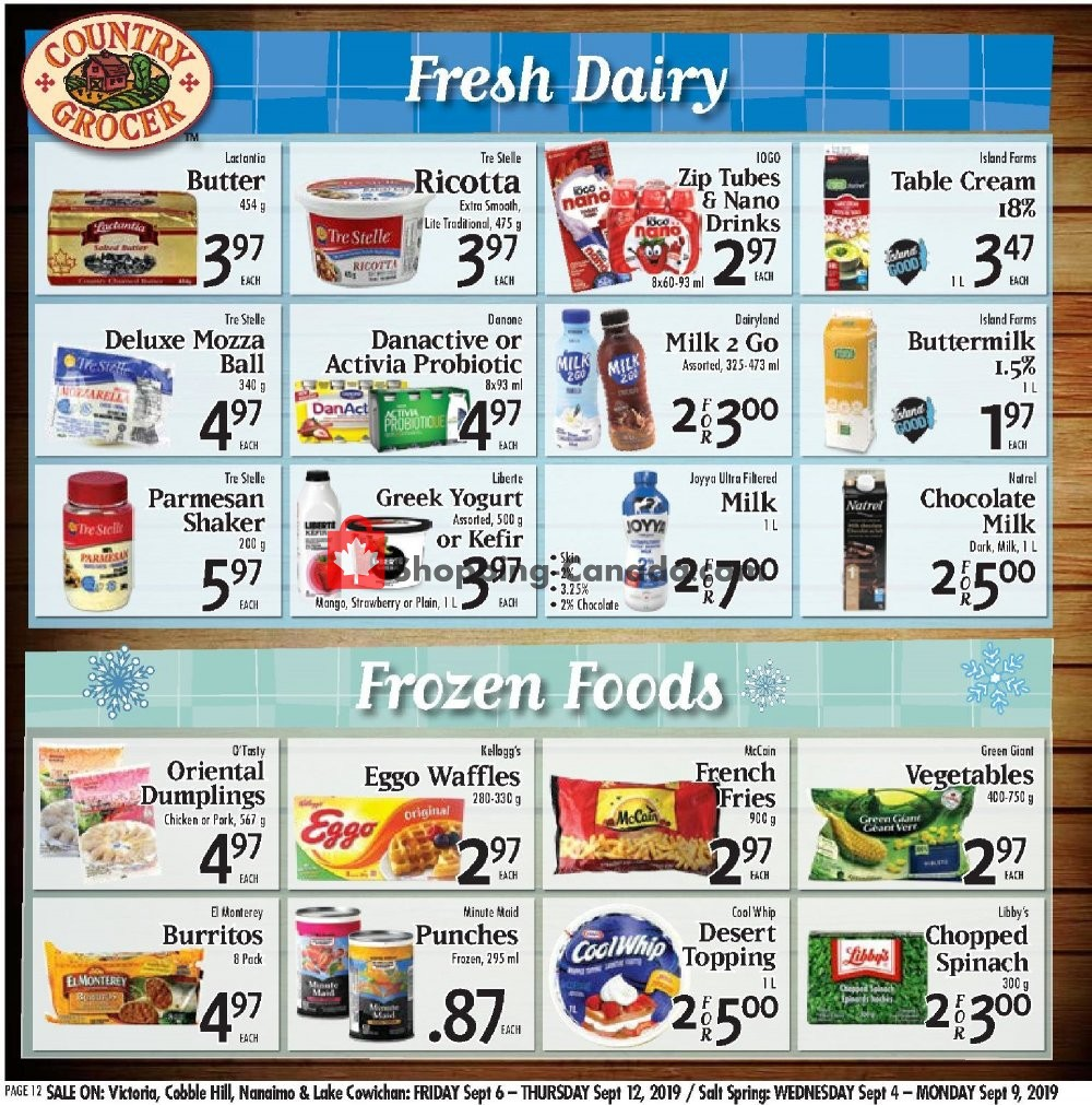 Flyer Country Grocer Canada - from Friday September 6, 2019 to Thursday September 12, 2019