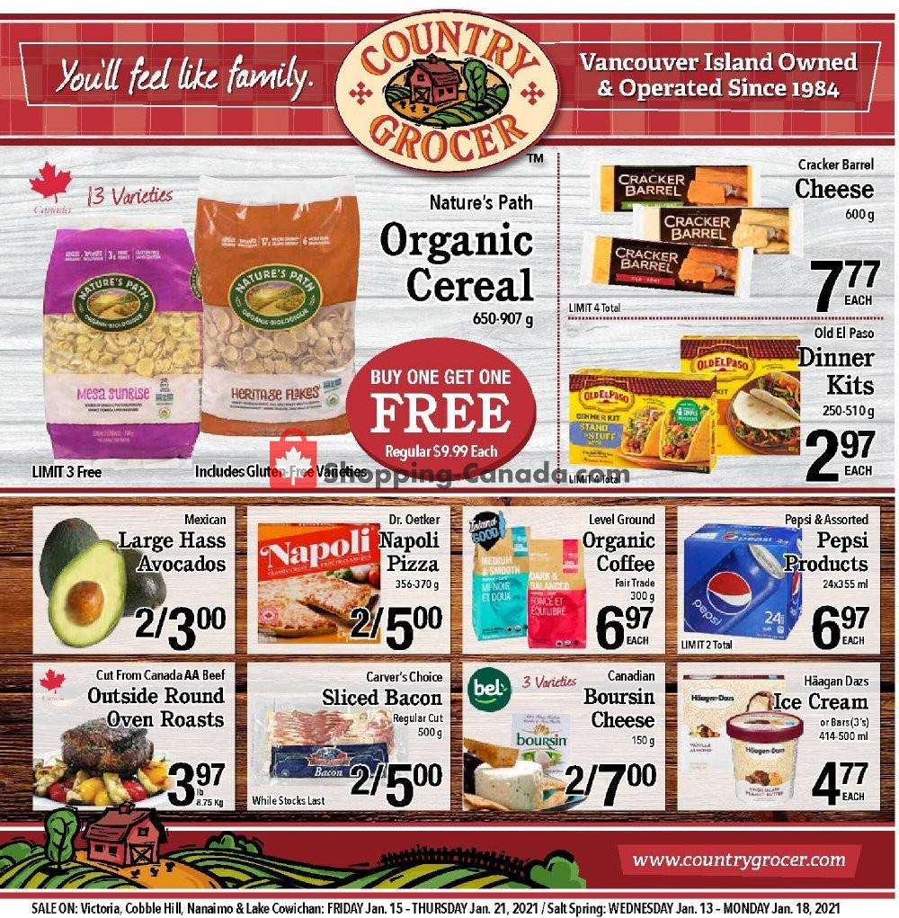 Flyer Country Grocer Canada - from Friday January 15, 2021 to Thursday January 21, 2021