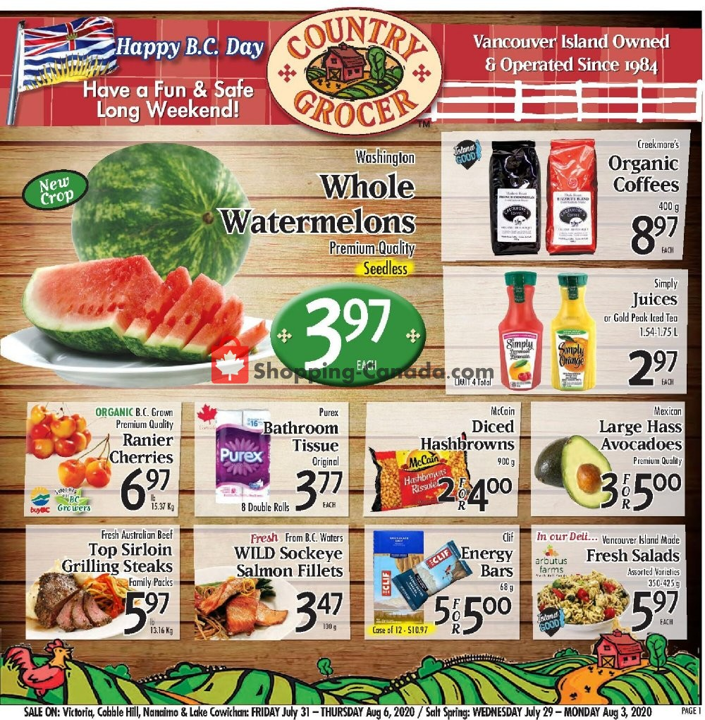 Flyer Country Grocer Canada - from Friday July 31, 2020 to Thursday August 6, 2020