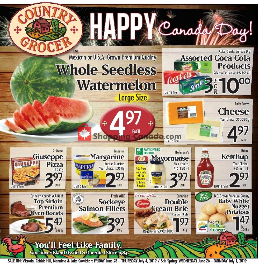 Flyer Country Grocer Canada - from Friday June 28, 2019 to Thursday July 4, 2019