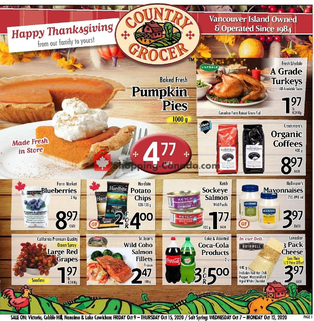 Flyer Country Grocer Canada - from Friday October 9, 2020 to Thursday October 15, 2020