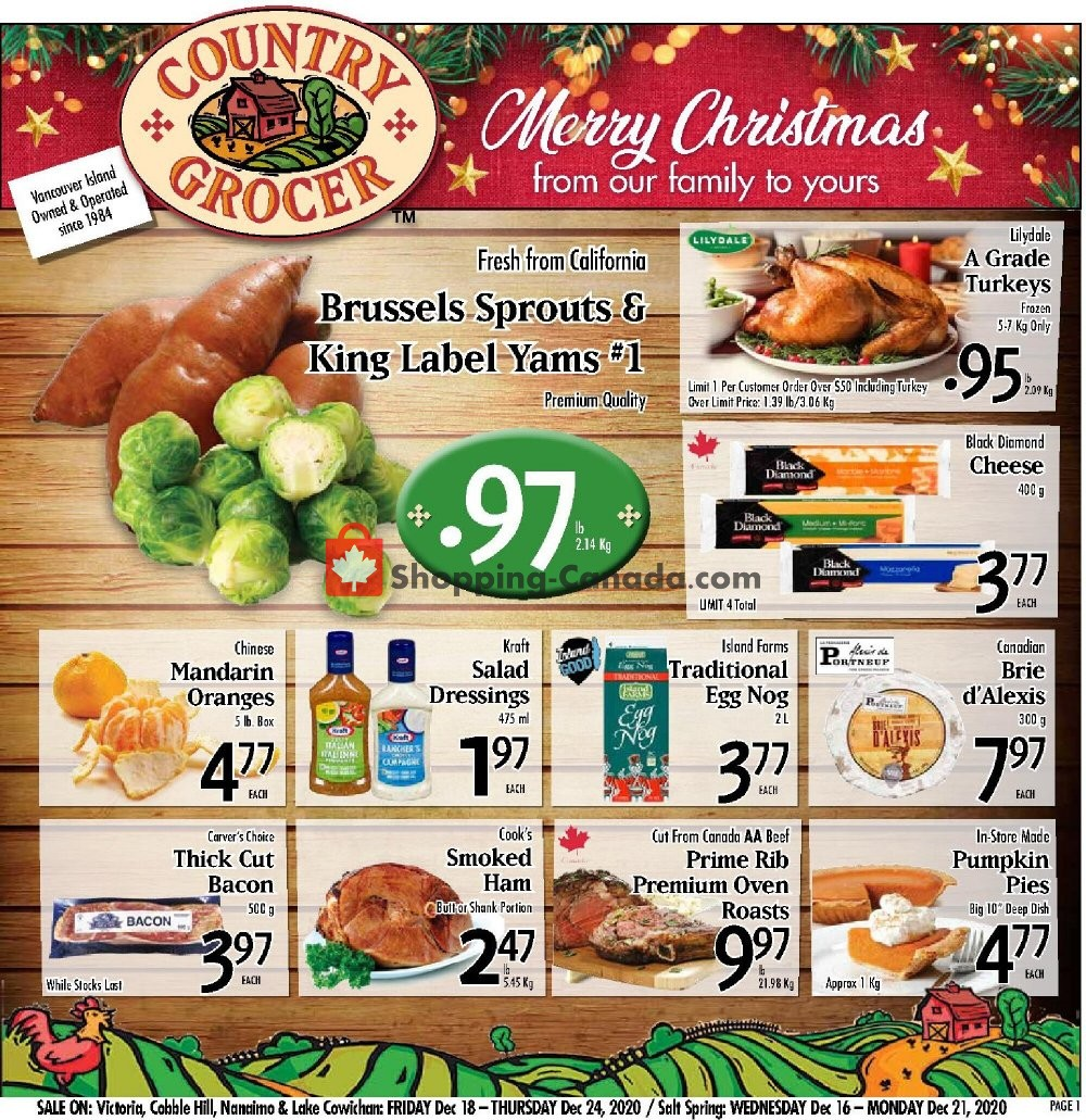 Flyer Country Grocer Canada - from Friday December 18, 2020 to Thursday December 24, 2020