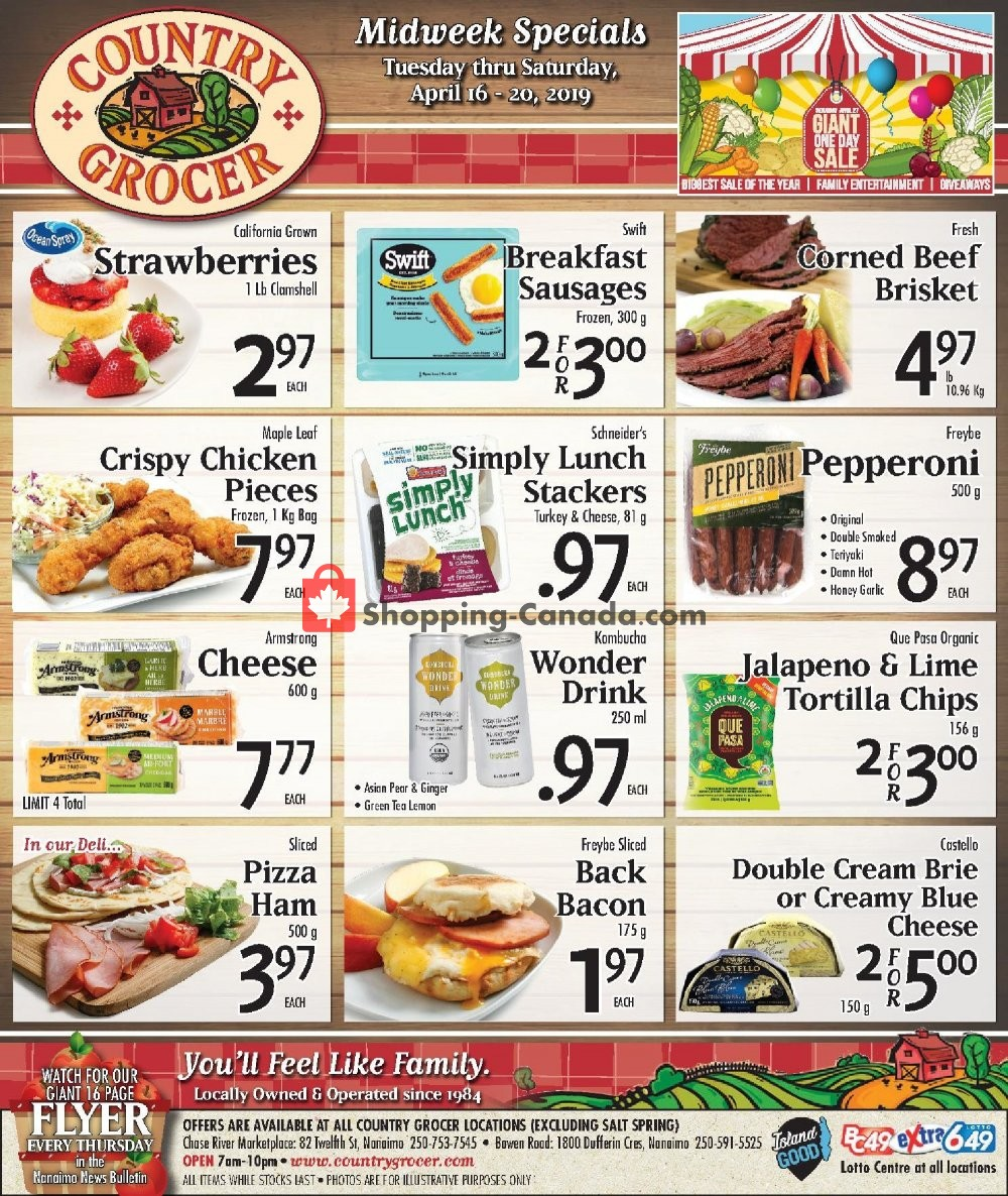 Flyer Country Grocer Canada - from Tuesday April 16, 2019 to Saturday April 20, 2019