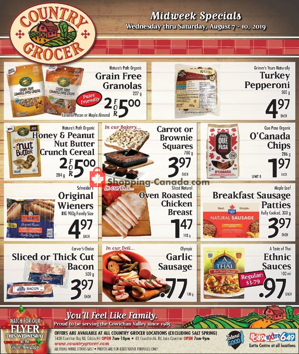 Flyer Country Grocer Canada - from Wednesday August 7, 2019 to Saturday August 10, 2019
