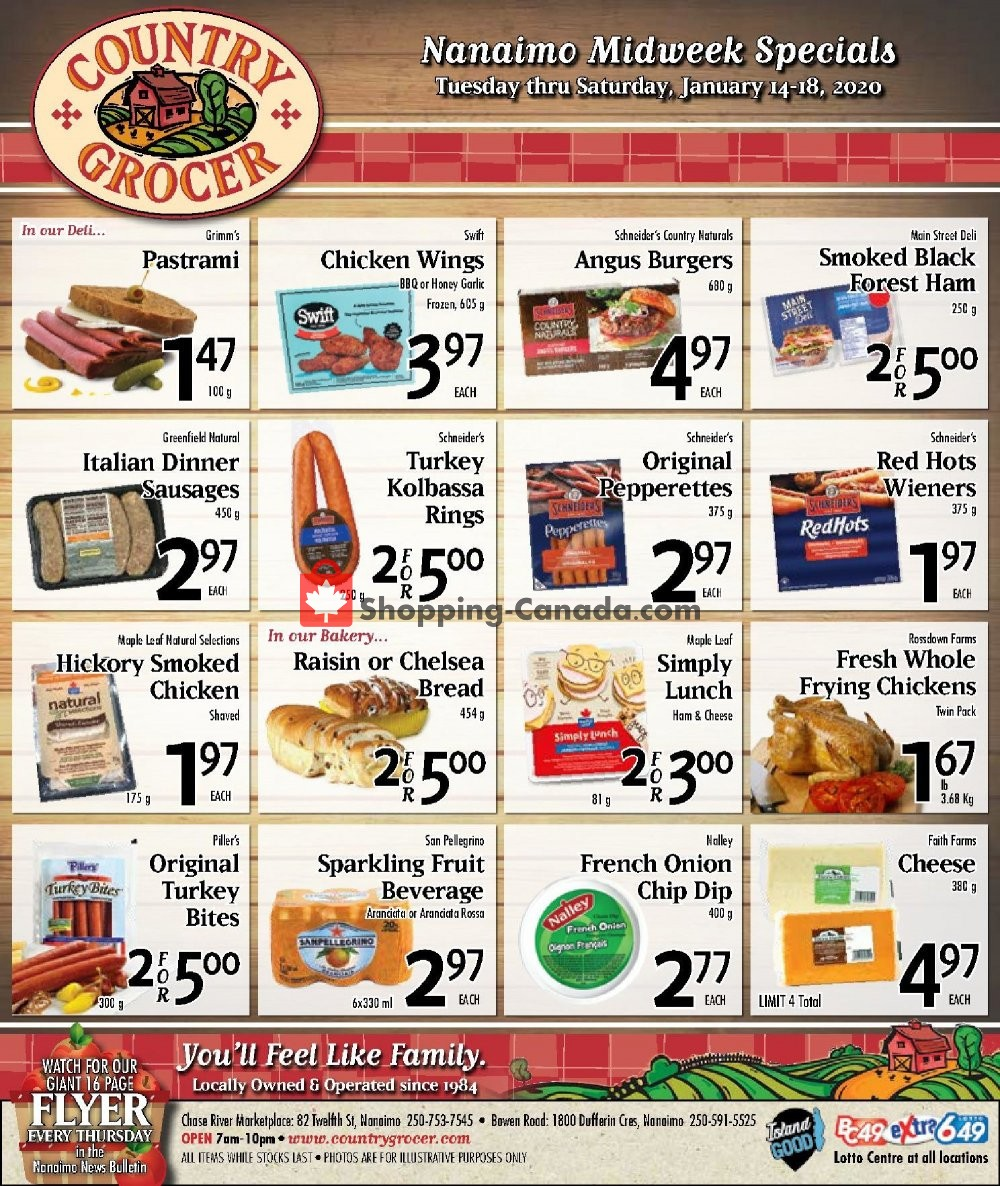Flyer Country Grocer Canada - from Tuesday January 14, 2020 to Saturday January 18, 2020