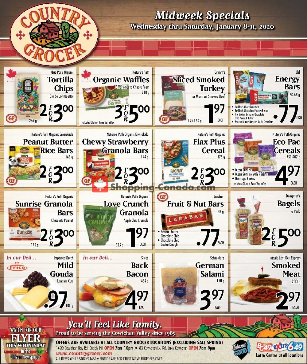 Flyer Country Grocer Canada - from Wednesday January 8, 2020 to Saturday January 11, 2020