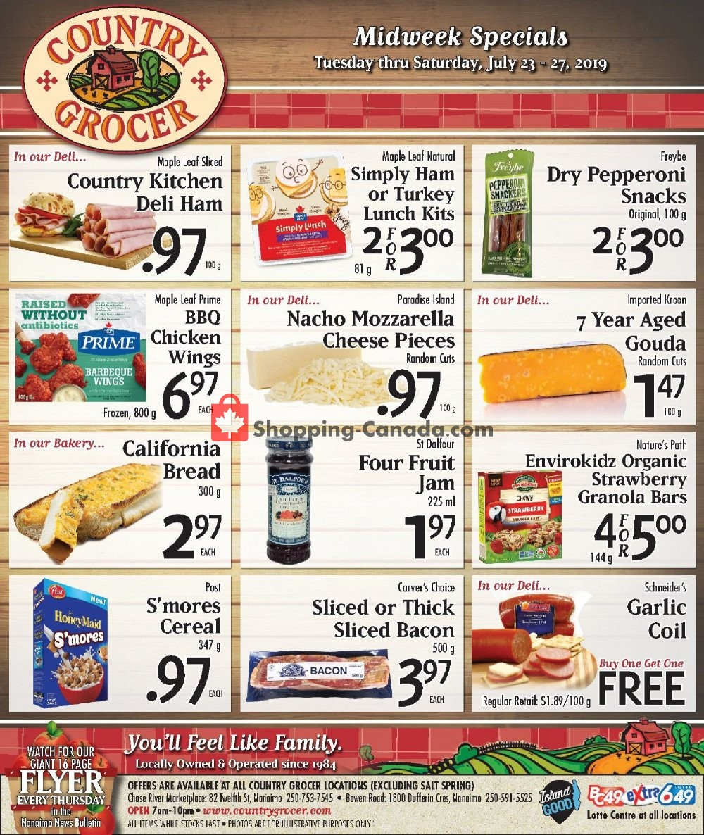 Flyer Country Grocer Canada - from Tuesday July 23, 2019 to Saturday July 27, 2019