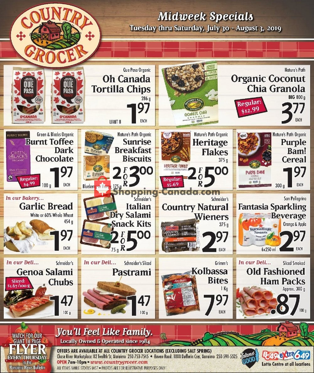 Flyer Country Grocer Canada - from Tuesday July 30, 2019 to Saturday August 3, 2019