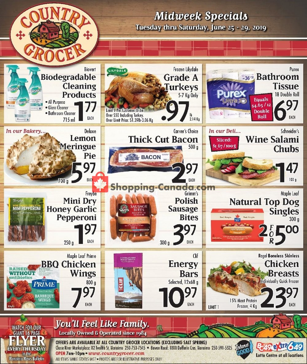 Flyer Country Grocer Canada - from Tuesday June 25, 2019 to Saturday June 29, 2019